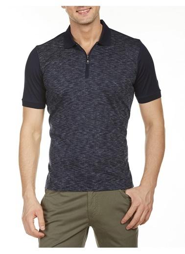Bisse TS19Y19107 Regular Fit Desenli Fermuarlı Yaka T-Shirt Lacivert